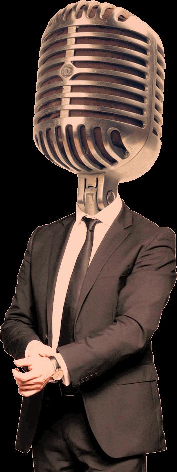 Gut gekleideter Mann mit modischem Mikrophon-Kopf